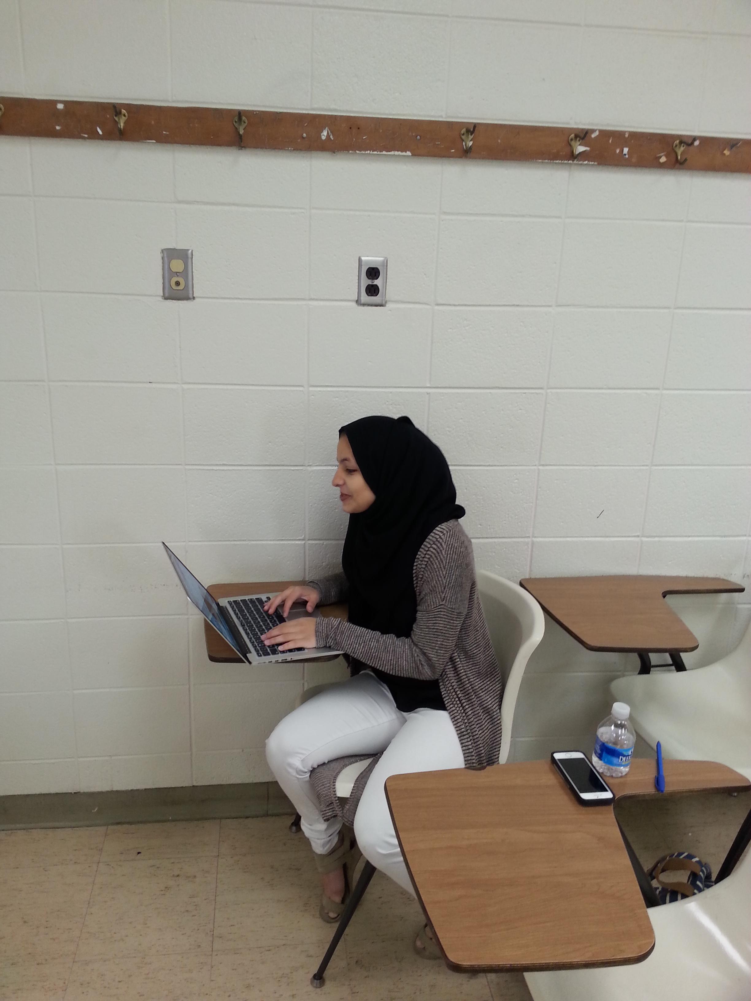 Aya Ben Abdellatif in class at Georgia State University