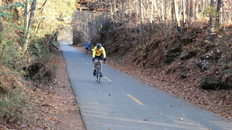 Cyclist on the Silver Comet Trail in article about Silver Comet Extension