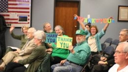 Cobb residents celebrating county commission decision to move forward with parks bond-- photo by Larry Felton Johnson