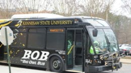 KSU bus in article about Kennesaw State Bicycle Friendly