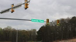 Riverside Parkway road sign in article about hit-and-run on Riveside Parkway