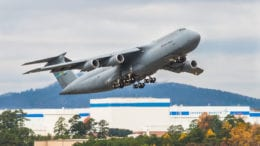 The 13th C-5 M Super Galaxy takes off for delivery from Marietta, Ga. to Dover Air Force Base on Nov. 21, 2013 (photo courtesy of Lockheed Martin)