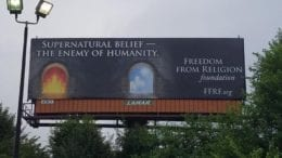 "Billboard from atheist group with slogan ""Supernatural Belief is the Enemy of Humanity"""