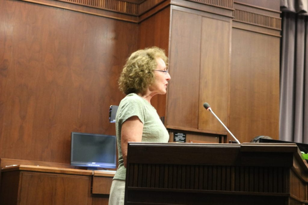 Cynthia Patterson thanks BOC for approving purchase of Tritt property (photo by Larry Felton Johnson)