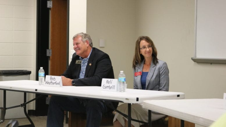 Bob Weatherford and Keli Gambrill at Sierra Club forum (photo by Larry Felton Johnson)
