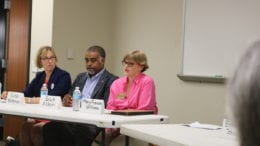 Erick Allen and Mary Frances Williams (in pink shirt) at a Sierra Club Forum