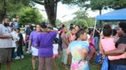 Residents at the Riverside Parkway National Night Out (photo by Larry Felton Johnson)