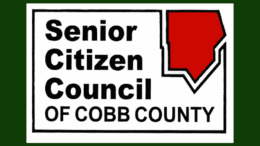 Logo of the Senior Citizen Council of Cobb County (the name of the organization with a red graphic in the outline of the county in the upper right-hand corner.