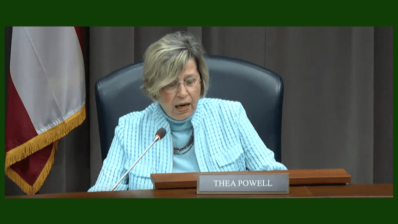 Thea Powell at her last planning commission hearing (screenshot from Cobb County lives stream)