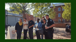 Marietta police officers with residents in article about Coffee with a Cop at Cool Beans (photo courtesy of the Marietta Police Department)