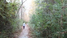 Hooded figure walking down trail in Heritage Park in Mabelton.