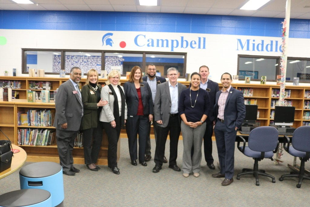 (L-R) State Rep. Erick Allen, Assistant Superintendent Robin Lattizori, Assistant Superintendent Elizabeth Mavity, Assistant Superintendent Jami Frost, Assistant Superintendent Christian Suttle, Assistant Superintendent Robert Downs, Board of Education member-elect Charisse Davis, Assistant Superintendent Ed Wagner, Board of Education member-elect Jaha Howard.