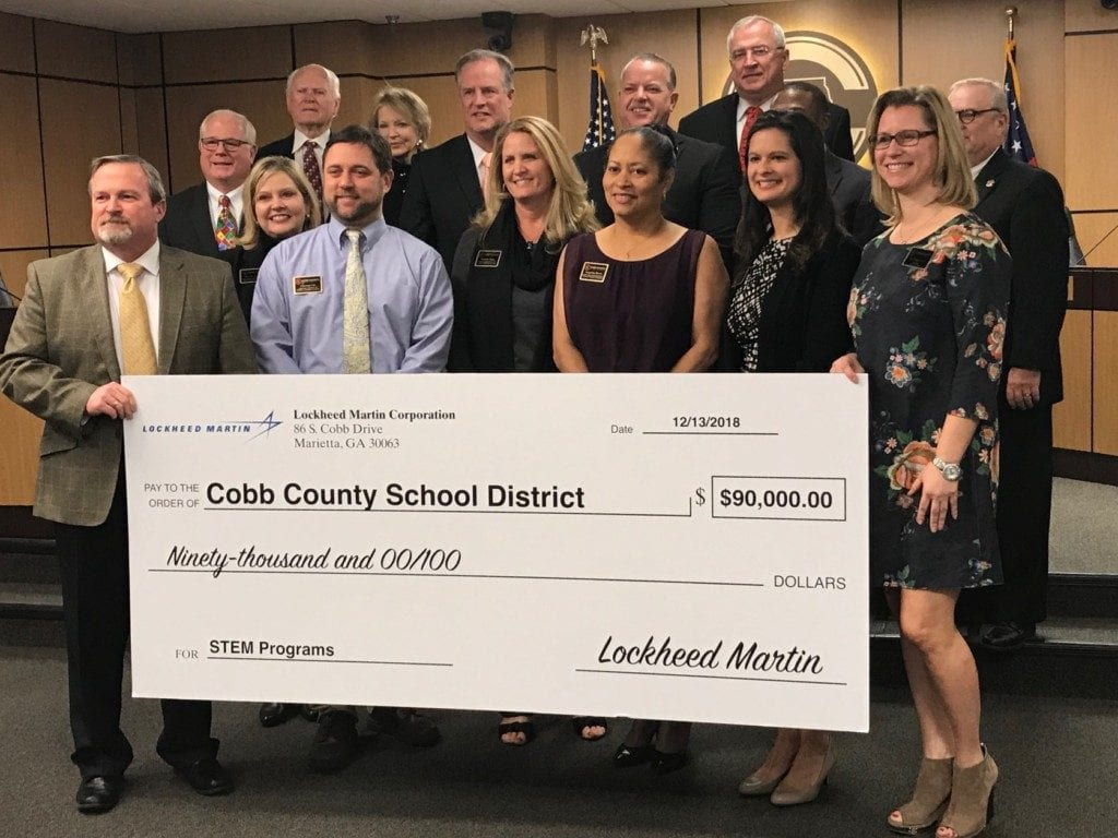 Lockheed Martin presented the district with a $90,000 grant to fund STEM activities, including drone competition teams and robotics teams.