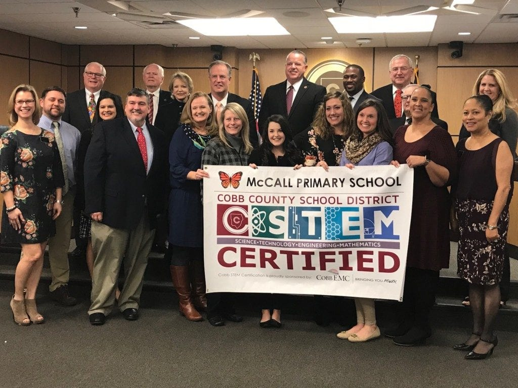 McCall Primary School received recognition for obtaining STEM certification.