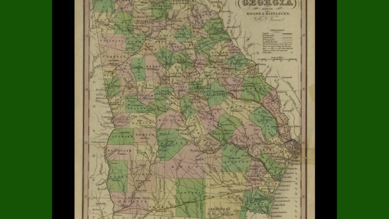Section of 1833 map showing original shape of Cobb County (retrieved from http://dlg.galileo.usg.edu/hmap/id:hmap1833t3copy3 at the UGA libraries -- public domain)
