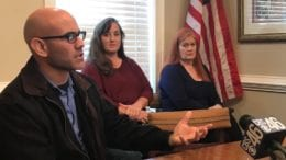 Cobb Parents Jorge Santa, Carol Thompson and Catherine Busse. in article about press conference on bullying (photo by Rebecca Gaunt)