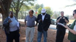 L-R, Monica Delancy, founder of We Thrive in Riverside Renters Association, Rich Pelligrino, SCLC, Dr. Benjamin Williams, president of the Cobb County chapter of SCLC, and Officer Conwell of the Cobb County Police Department at SCLC press conference