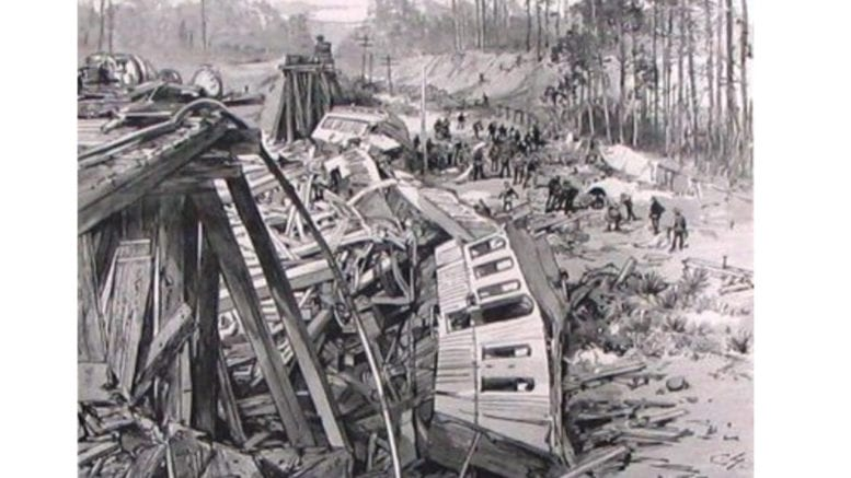 The Railroad Disaster to the West India Mail Near Blackshear, Georgia, an engraving from a photograph published in Harper's Weekly, March 1888 in article about emergency response training