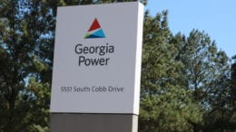 Georgia Power sign at Plant McDonough-Atkinson in Cobb County accompanying artcile about dewatering at Plant Yates
