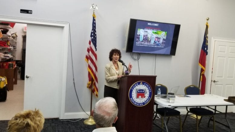 Debbie Fisher delivers SPLOST criticisms at Cobb GOP headquarters (photo by Larry Felton Johnson)