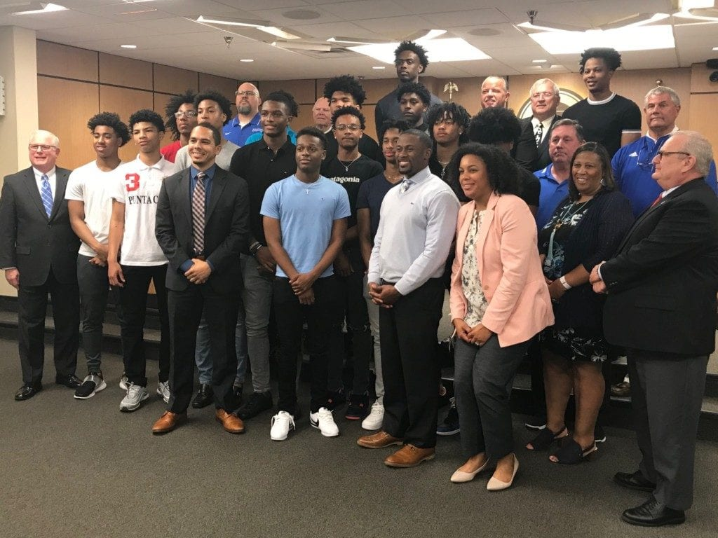 McEachern High School's boys' basketball team was recognized for winning the state championship.