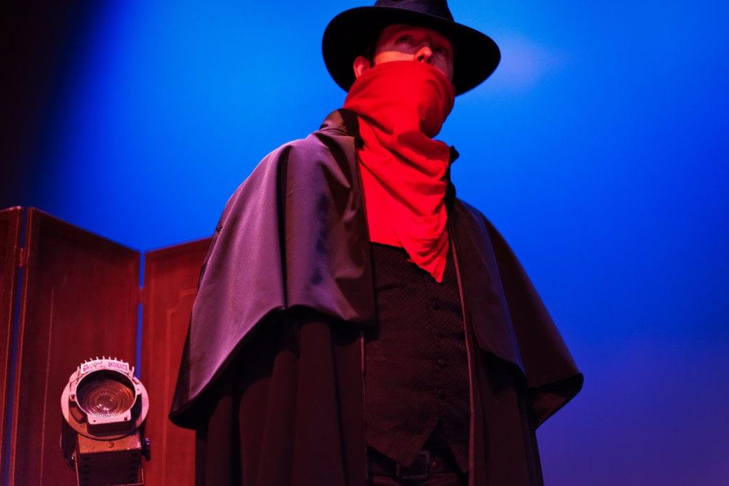 Matt Goodson as The Shadow (photo courtesy of the Georgia Symphony Orchestra)
