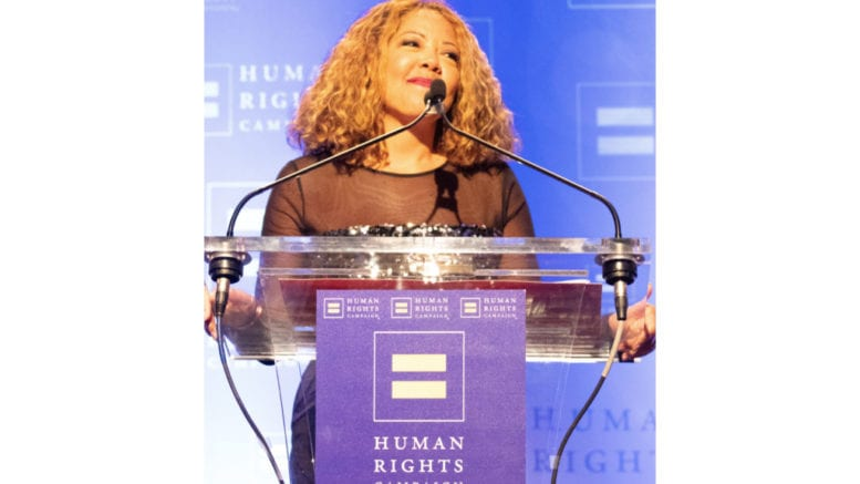 Rep. Lucy McBath speaking at Human Rights Campaign gala (photo by Martel Sharpe)