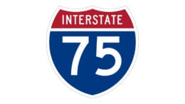 Image of I-75 road sign in article about traffic shift Wednesday