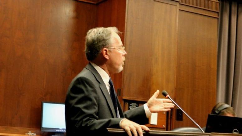 Cobb County spokesperson Ross Cavitt, at podium, announces boil water advisory for parts of Cobb (photo by Larry Felton Johnson)