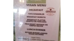 The new Cenacle vegan menu, described in text format in the article