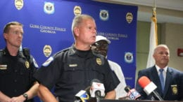 Cobb County Police Chief Tim Cox at press conference about the officer charged with sexual assault