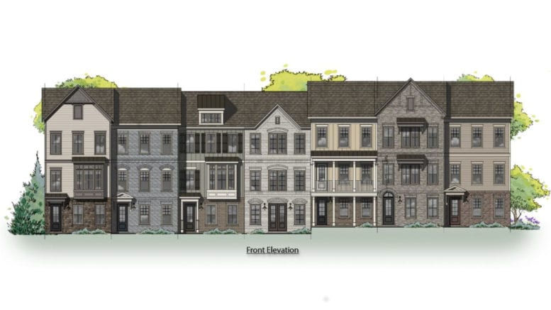 Rendering of proposed townhomes on site of Cumberland Community Church (from the City of Smyrna)