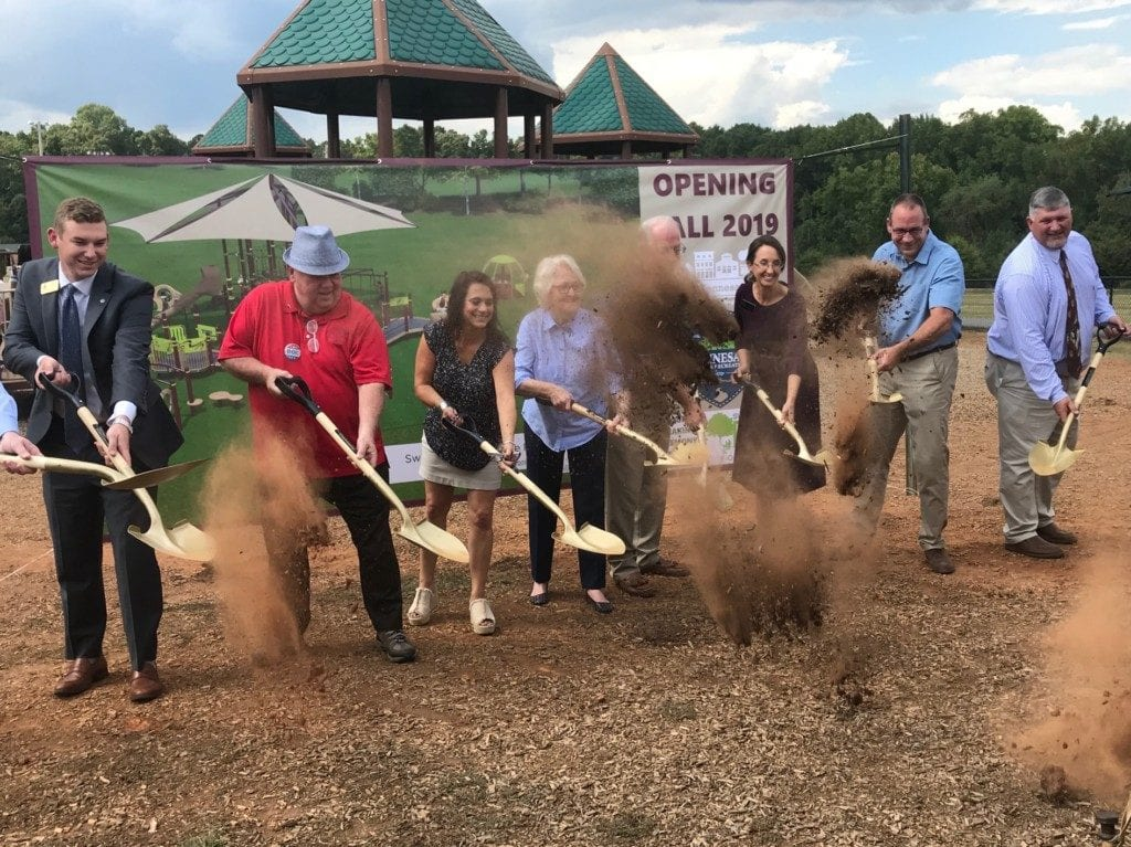 """Will Anderson from Congressman Barry Loudermilk's office, council member James """"Doc"""" Eaton, council member Tracey Viars, Ann Pratt, council member Pat Ferris, Cobb commissioner Keli Gambrill, Phil Barber from the Swift-Cantrell Foundation, parks director Steve Roberts."""