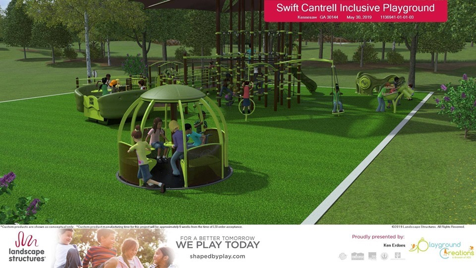 Rendering of an inclusive playground with children on various playground equipment.