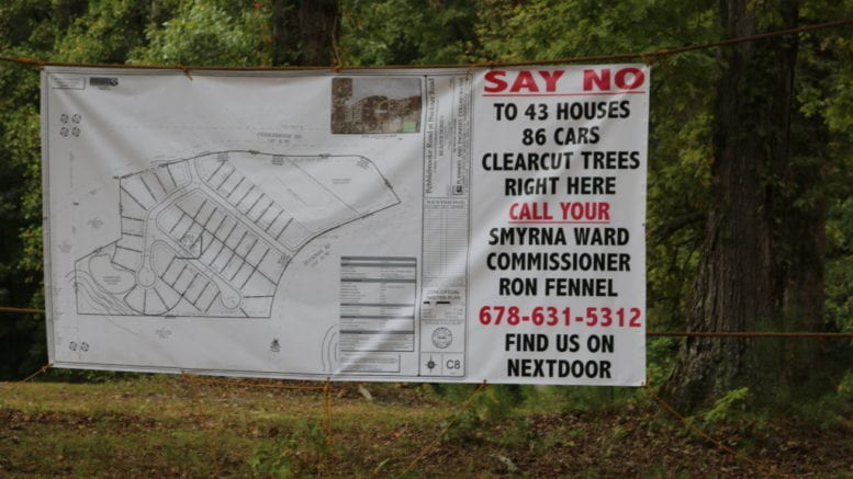 A sign put up by neighbors along Buckner road opposed to the annexation and rezoning of a 12.7 acre property by Smyrna