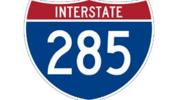 I-285 sign accompanying article about more lane closures I-285 in Cobb
