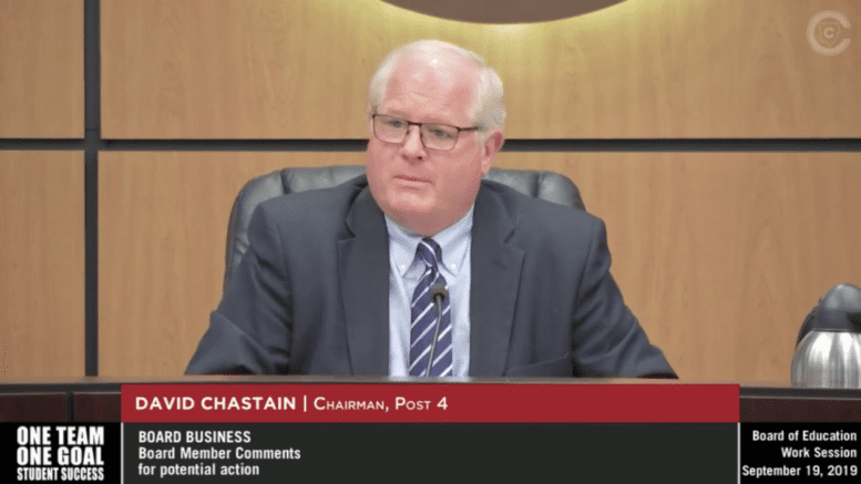 Cobb County Board of Education Chairman David Chastain (screenshot from the video proceedings of the board)