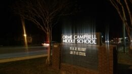 Campbell Middle School sign at night