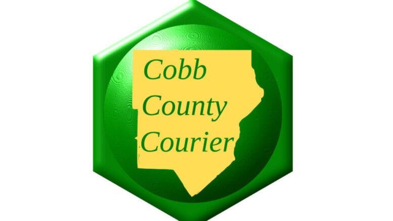 Courier logo, a yellow shape of cobb on a green logo