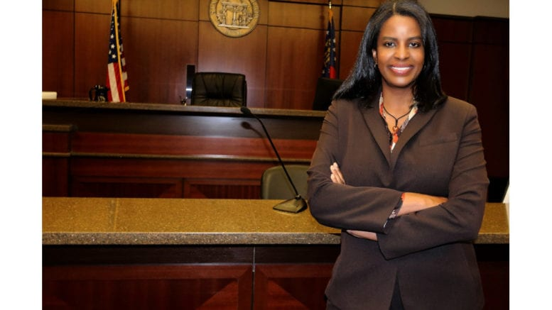 Daniele Johnson in a courtroom