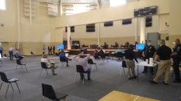 Smynra City Council in person meeting in Smyrna Community Center gym