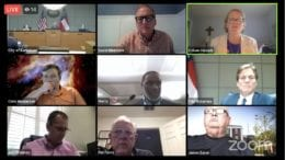 Screenshot of zoom meeting in which Kennesaw officials are once again considering code amendments for purpose-built student housing.