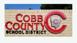 The logo on front of a Cobb County School District facility