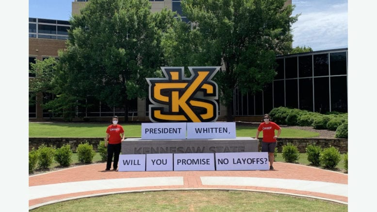 United Campus Workers of Georgia members asking KSU President Pamela Whitten to pledge no layoffs