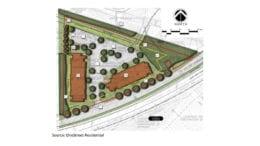 Hearthside site plan a triangular artist rendering